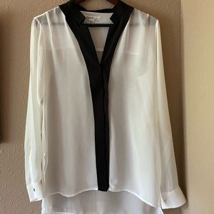Kenneth Cole White Sheer Blouse